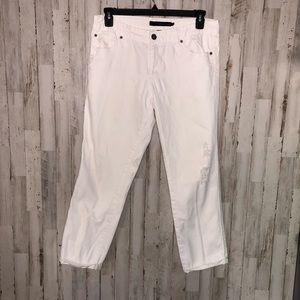 Calvin Klein Women's White Tapered Crop Jeans